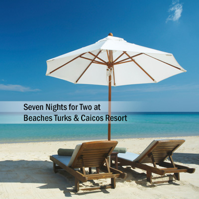 BEACHES<sup>&reg;</sup> Turks & Caicos Resort - Relax and unwind during your  stay for 2 adults in the French Village at Beaches<sup>&reg;</sup> Resort Turks & Caicos.  You will enjoy 7 nights at this all-inclusive oceanfront resort on 12 miles of beach lapped by clear turquoise waters.  Subject to availability based on request.  Airfare not included.