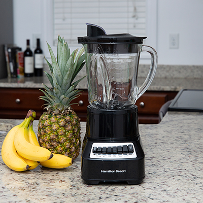 HAMILTON BEACH<sup>&reg;</sup> Wave Crusher Multi-Function Blender - This blender offers all the power you need to mix, puree, dice, crush ice and more.  Patented Wave-Action system uses Ice Saber blades to provide powerful ice crushing action.  Features 700 watts of power, a 40-oz glass jar, 14 blending functions and an easy-pour spout to eliminate drips and mess.
