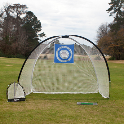AJILLIS<sup>&reg;</sup> 3-in-1 Golf Practice Net & Mat - Now you can practice your swing without heading to the driving range.  Set includes driving net, chipping net, driving mat and nylon carrying bar.