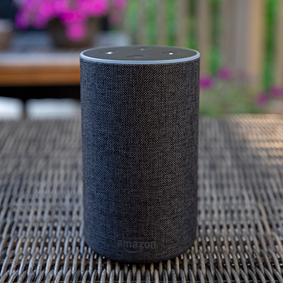 AMAZON<sup>®</sup> ECHO™ - Play music, make calls, listen to the news, control smart home devices and more with this Echo when connecting to Alexa, the cloud-based voice service.  This charcoal colored Echo features 360-degree omni-directional audio for crisp, immersive sound, 7 integrated microphones, beamforming technology, noise cancellation which allows Alexa to hear you even while music is playing, 2.5
