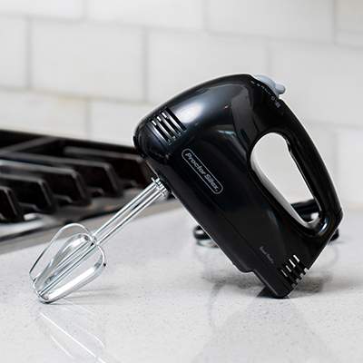 PROCTOR SILEX<sup>&reg;</sup>  Easy Mix™ Hand Mixer - This compact and convenient sized hand mixer is designed for mixing, stirring, beating, and whipping.  Features 5 speeds, beater eject, Bowl Rest™ feature, and 100 watts of power.