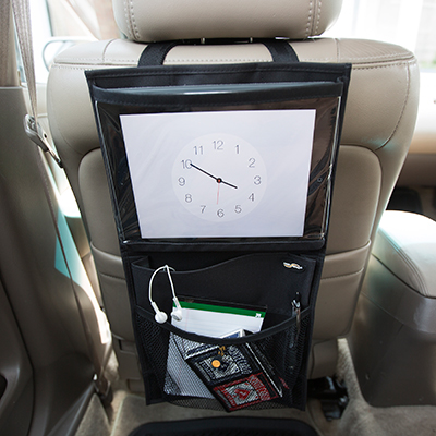 "HIGH ROAD<sup>&reg;</sup> Media Organizer - Keep your vehicle organized and clutter-free.  Media organizer attaches around a car seat head rest and features a  quick-release buckle. Organizer measures 10.5"" x 20"" and has 3 pockets to hold electronics, kids stuff and anything else you need to put up out of the way."