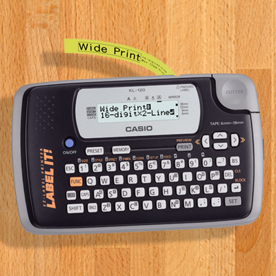 CASIO<sup>&reg;</sup> Portable Thermal Label Maker - Organize your life with easy-to-make identifying labels! This portable thermal printer is simple and ideal for home, school, or the office. It features a 16-digit LCD display with 2 lines, one built-in font and 24 character sizes. It also has an easy-to-use keyboard that helps you label and print whatever you want!